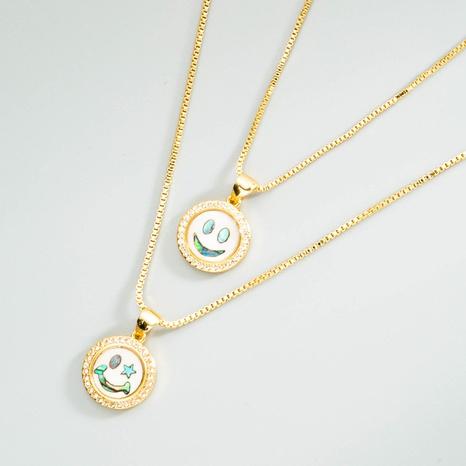 Einfache Halskette mit lächelndem Gesicht aus Messing mit Zirkonia-Anhänger NHLN368623's discount tags