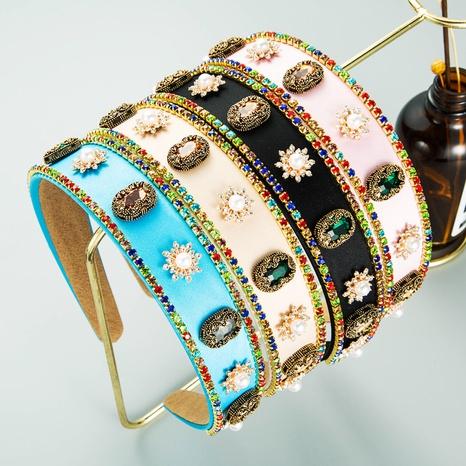 Diadema de diamantes de imitación con incrustaciones de aleación de flor de perla barroca NHLN368625's discount tags