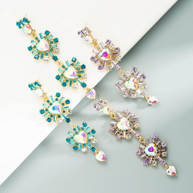 exaggerated multi-layer hollow heart-shaped alloy rhinestones long earrings NHLN368628