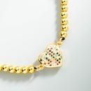 fashion copper microinlaid color zircon heartshaped beaded adjustable bracelet NHLN368631