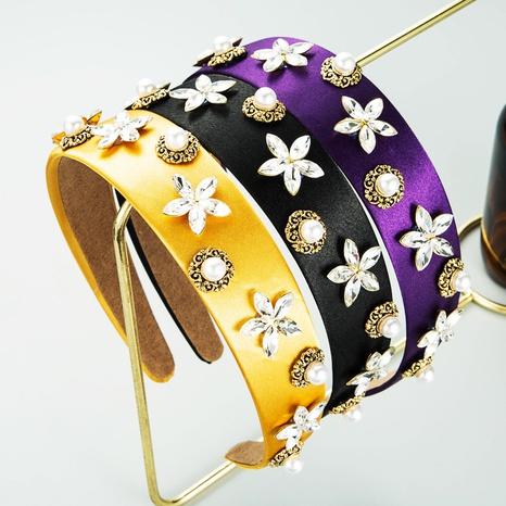 diadema de tela de ala ancha con corona de diamantes de imitación de perlas de moda NHLN368634's discount tags