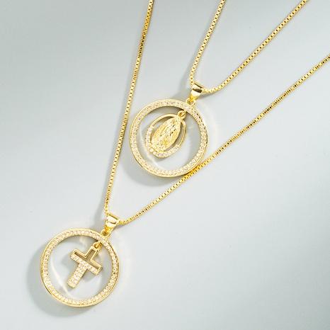 Mode runde hohle Jungfrau Maria Kreuz Anhänger Kupfer eingelegte Zirkon Halskette NHLN368637's discount tags