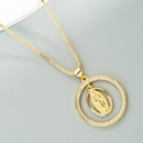 fashion round hollow Virgin Mary cross pendant copper inlaid zircon necklace NHLN368637