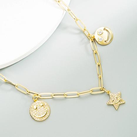 Mode Smiley Stern mehrere hängende Kupfer eingelegte Zirkon Halskette NHLN368638's discount tags