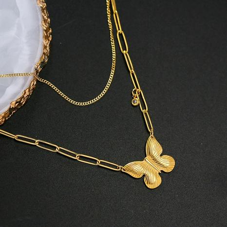 14K goldener Schmetterling Anhänger Halskette Titanstahl Metallkette NHQIY368646's discount tags