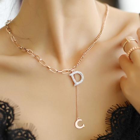 Mode Buchstabe D Titanstahl Halskette Metallkette Schlüsselbeinkette NHQIY368648's discount tags