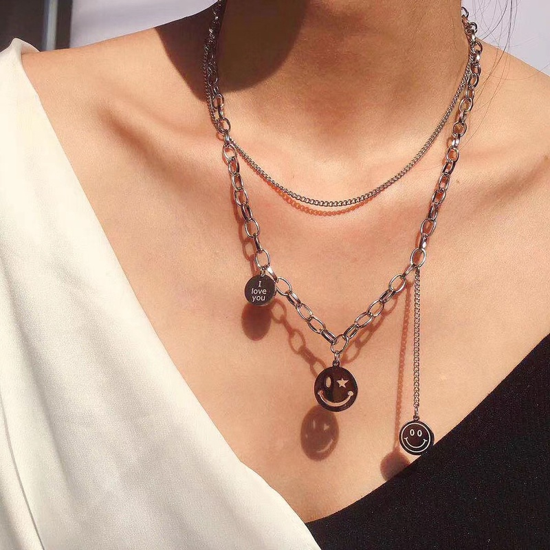 Titanium Steel smiley face necklace fashion doublelayer pendant clavicle chain sweater  NHQIY368655