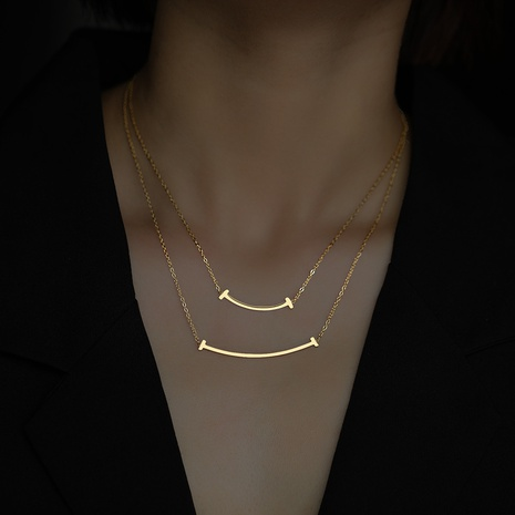 Halskette mit Smiley-Gesicht aus Titanstahl Schlüsselbeinkette NHQIY368654's discount tags