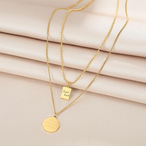 Doppelte Lucky Round Marke Titanstahl Halskette Brief Pullover Kette NHQIY368656's discount tags