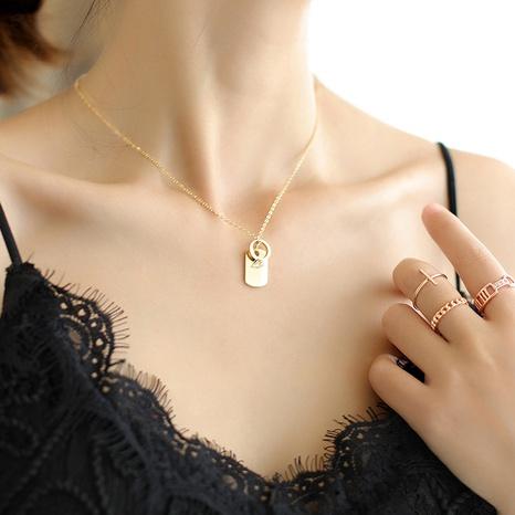 Koreanische Buchstabe Quadrat Marke geometrische Halskette Edelstahlring Goldanhänger Schlüsselbeinkette NHQIY368658's discount tags