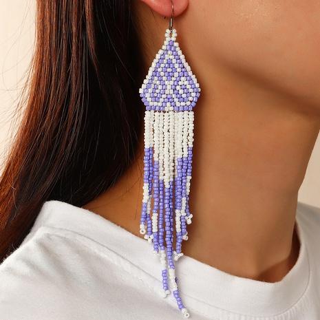 Bohemian style Color Rice Bead Long Tassel Earrings  NHNZ368663's discount tags