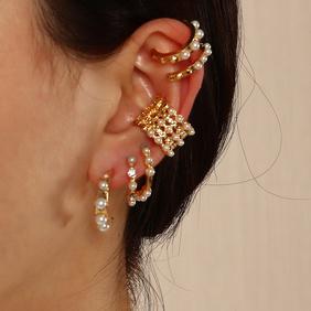 fashion geometric C-shaped no pierced pearl earrings NHNZ368664