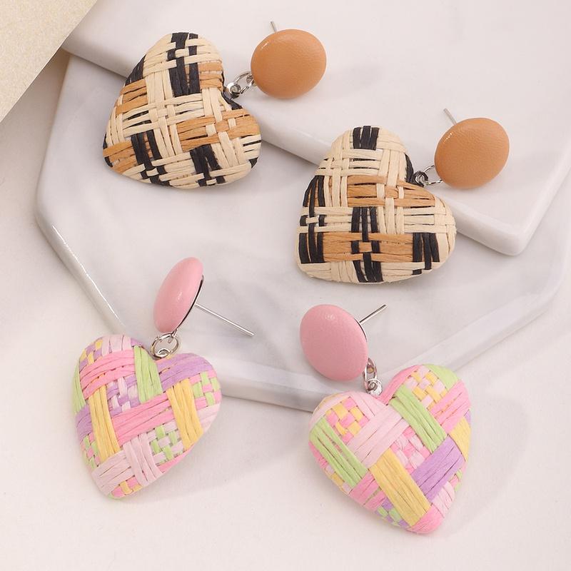 ethnic style raffia multicolor woven heart earrings  NHNZ368670