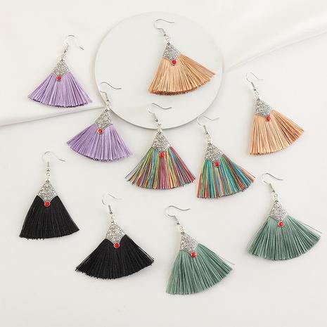 ethnic style tassel embossed fan-shaped earrings  NHNZ368669's discount tags