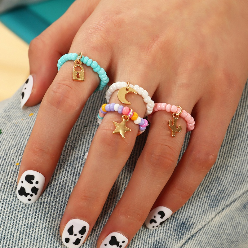 Ethnic Multicolored Beads Adjustable Star Moon Pendant Ring Set NHNZ368679