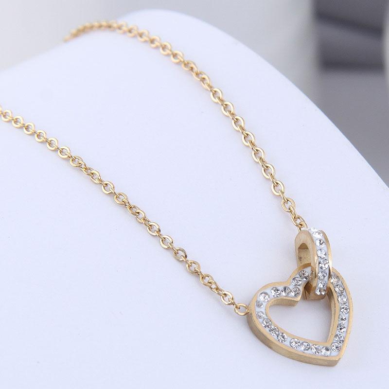 Korean Fashion Diamond Hollow Heart Titanium Steel Necklace NHSC368790