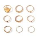 fashion geometric carved diamonds metal ring set NHOT368787
