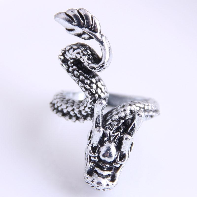 retro simple auspicious dragon shape open ring NHSC368760
