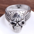 retro simple skull wide alloy ring NHSC368759