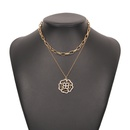 hiphop diamond hollow pendent alloy multilayer necklace NHMD368693