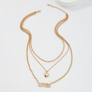 simple alloy heart letter pendent multilayer necklace NHMD368686