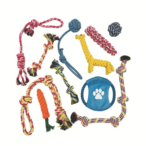 Pet cotton rope plush 11 Pieces set TPR toy combo set for dog teeth Toys  NHWQ369661's discount tags