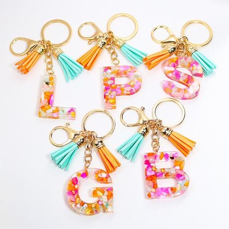 Sky blue tassel stone keychain pendant capital English Epoxy jewelry DIY letter accessories NHWQ369663's discount tags