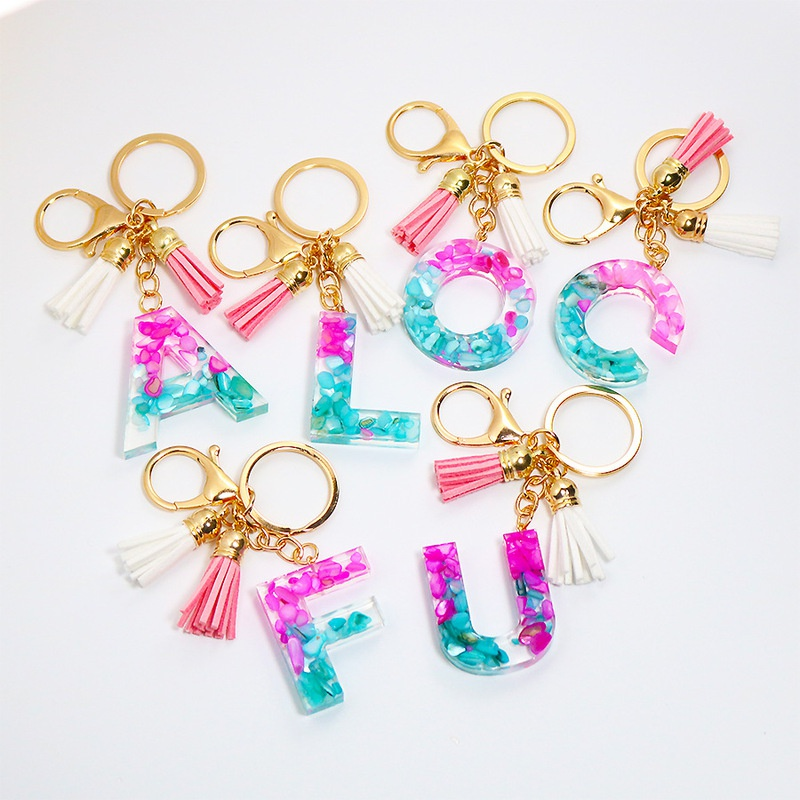 Alphabet Epoxy Tassel Keychain Colorful Resin Penden Key Chain Wholesale NHWQ369662