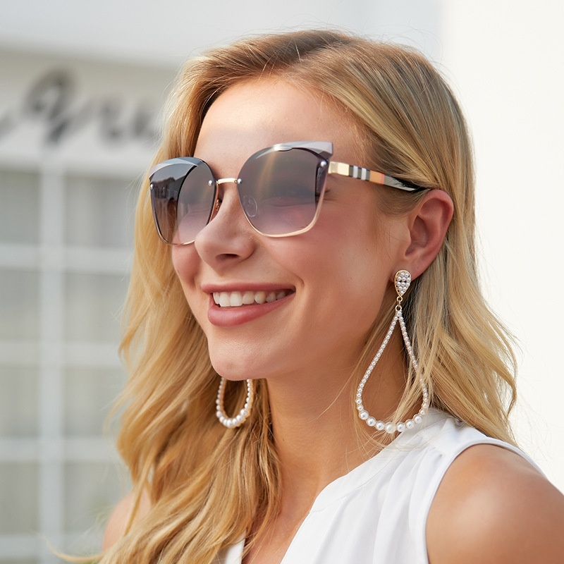 fashion cat eyes half frame sunglasses  NHLMO369013