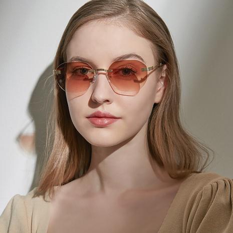 Gafas de sol poligonales sin marco de metal de moda NHXU369030's discount tags