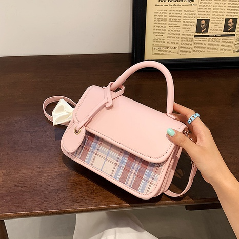 fashion plaid bow knot messenger bag NHJZ369042's discount tags