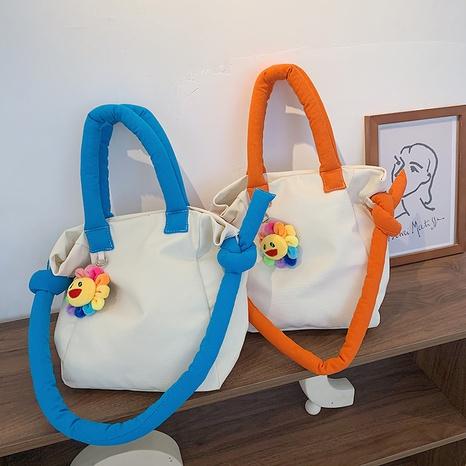 Korean rainbow color canvas shoulder bag NHJZ369057's discount tags