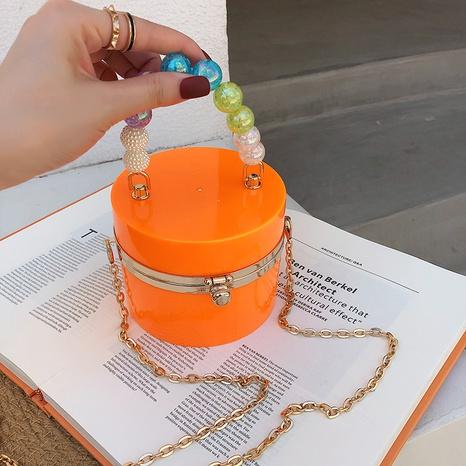 Fashion acrylic metal chain shoulder cylinder box bag  NHJZ369061's discount tags