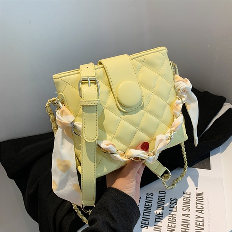 fashion rhombic silk scarf pearl chain shoulder messenger bag  NHJZ369062's discount tags