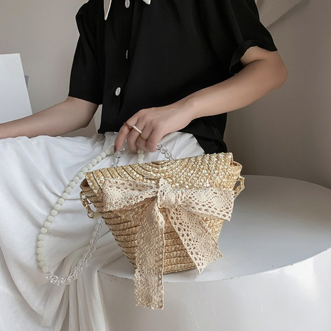 Korean straw woven lace bow straw bag  NHJZ369063's discount tags
