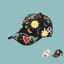 Korean style widebrimmed cute sun heart pattern baseball cap NHTQ369075