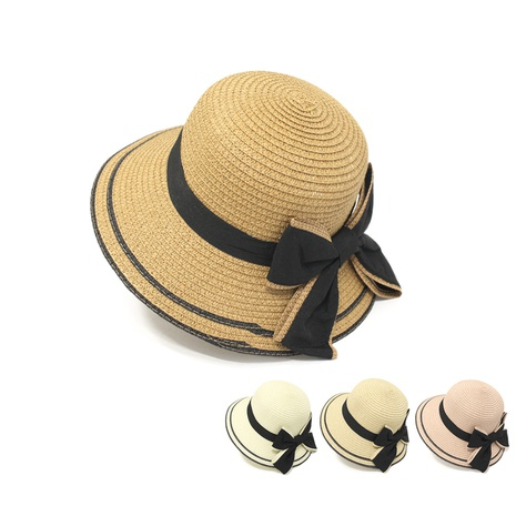 Korean style bow wide-brimmed sunshade parent-child straw hat   NHTQ369080's discount tags