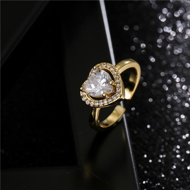 Retro copper heart shape zircon ring NHFMO369110