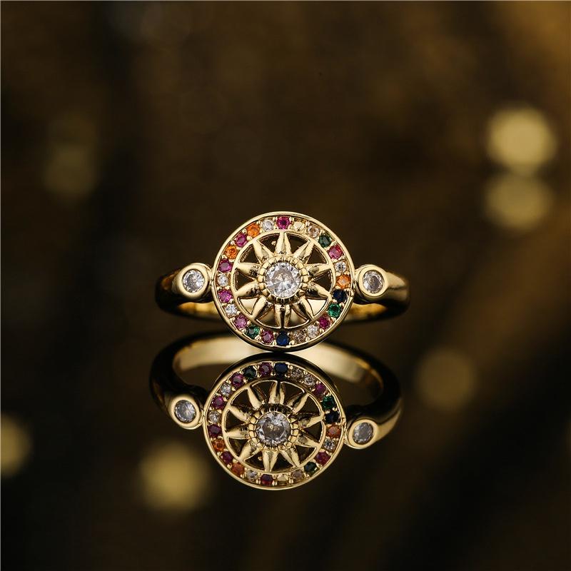 retro sun geometric copper microinlaid ring  NHFMO369145