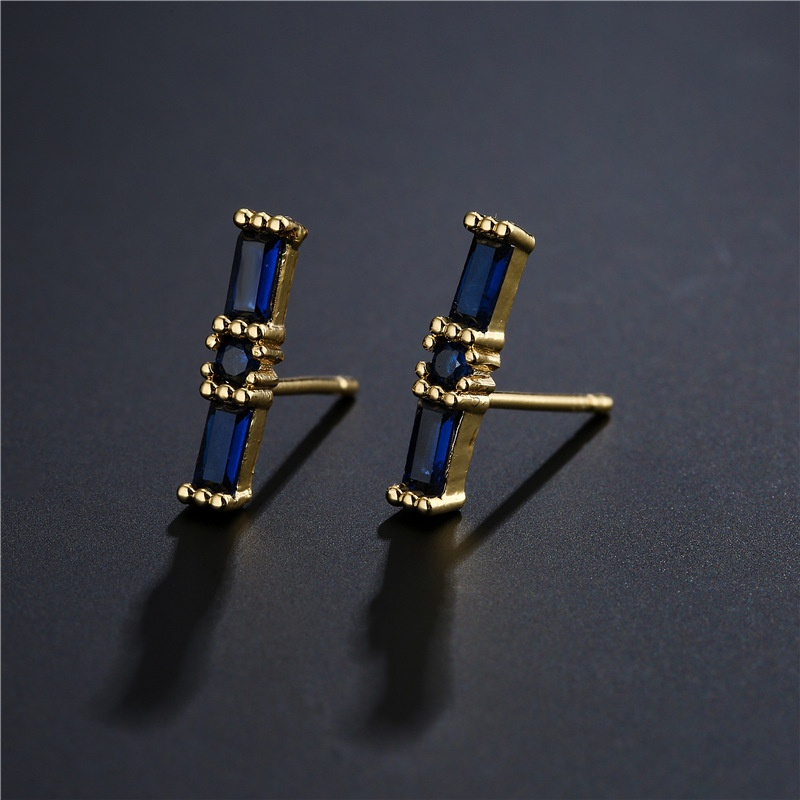 simple threecolor zircon geometric copper small earrings  NHFMO369160