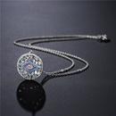 fashion copper microinlaid square zircon devils eye pendant necklace NHFMO369159