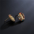 fashion Virgin Mary copper plated gold microinlaid zircon earrings NHFMO369163