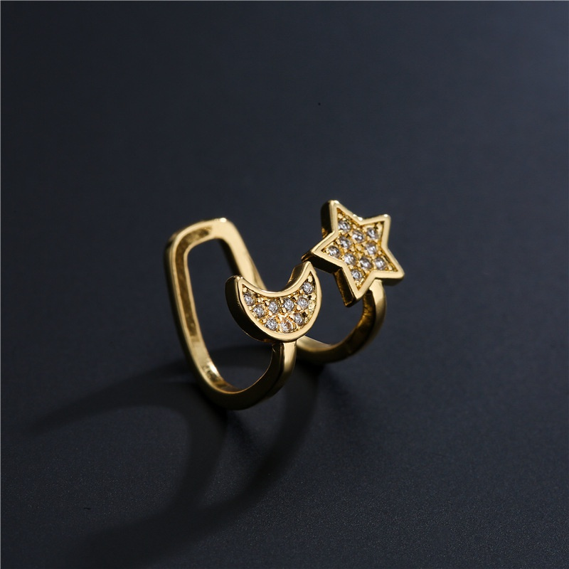 fashion copper plated gold small stars and moon ear clip NHFMO369165