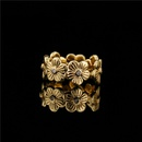 Retro flower shape opening adjustable copper ring NHFMO369184