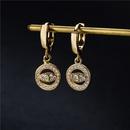 fashion eye shape copper microinlaid earrings  NHFMO369199