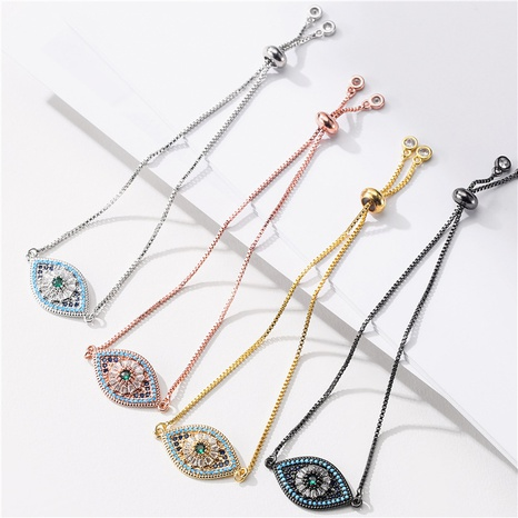 Retro pull adjustable chain color zirconium eye bracelet NHFMO369210's discount tags