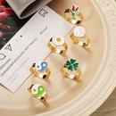 Retro oil drop daisy tulip Tai Chi adjustable alloy ring NHPJ369211