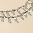 punk style leaf pendant clavicle chain multilayer necklace  NHKQ369220