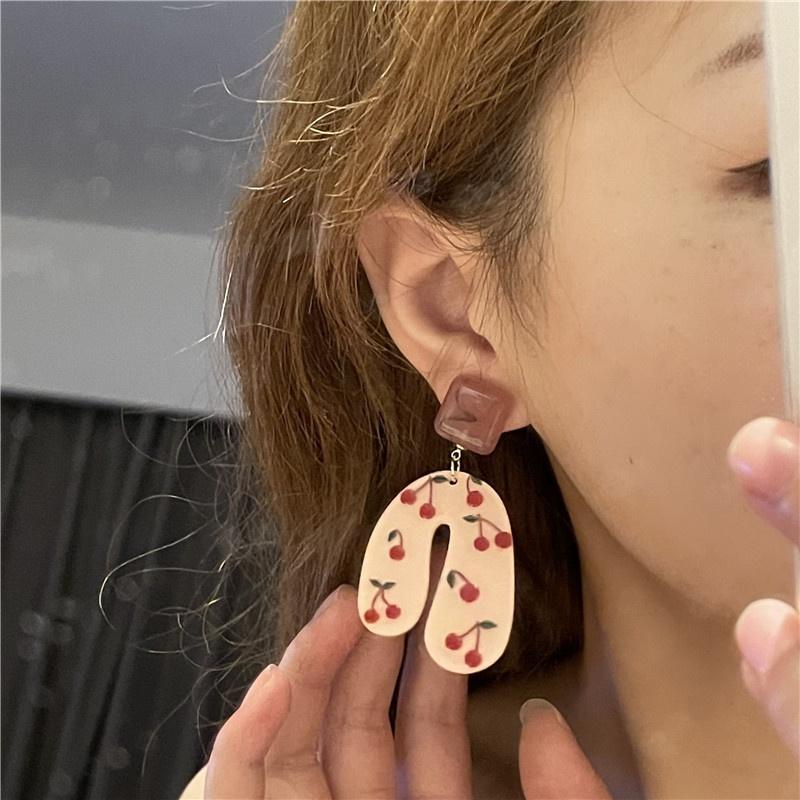 Korean resin cherry fruit earrings  NHYQ369246