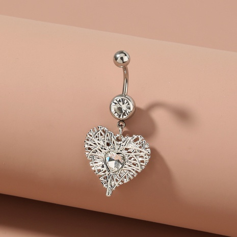 fashion heart-shaped stainless steel belly button nail wholesale NHAN369265's discount tags